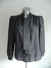 C&A Langarm Bluse mit Schalkragen ★ Vintage ★ schwarz weiß gepunktet ★ Gr. 44 L