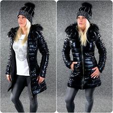 Steppmantel BLACK METALLIC Winterjacke XS S M L XL Schwarz Damen Jacke 5020