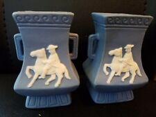 Vtg 2 Jasperware Blue & White Man on Horse Small Vases with Handles Japan