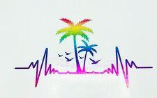 Rainbow Sea Salt Beach Life Salty Ocean Palm Vinyl Decal Car Window  Sticker
