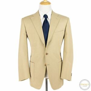 Domenico Vacca Tan Wool Twill Top Stitch Patch Pkts Pleated 3/2 Roll Suit 43R