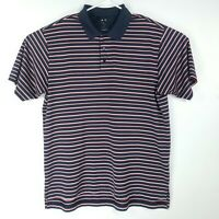 Adidas Mens Size XL Polo Shirt Striped Embroidered Logo Golf Collared