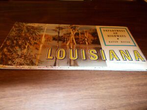 1960s Louisiana State-issued Vintage Road Map