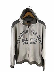 Spaulding Hoodie Jacket Men Size L Grey Long Sleeve Full Zip Pockets Logo Casual