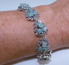 GENUINE! 6.21tcw!! Brazilian Emerald & Marcasite, Sterling Silver 925 Bracelet!