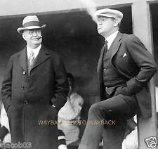 REPRINT OF 1922 PHOTO OF BABE RUTH & BAN JOHNSON SMOKING CIGARS BEFORE GAME
