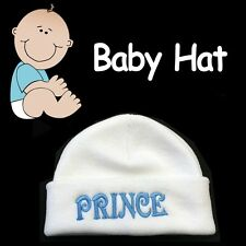 BABY BEANIE HAT ***BABY PRINCE*** SOFT COZY WHITE CAP HAT