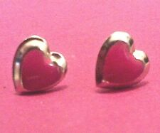 """A PAIR OF  EARRINGS, RED PLASTIC HEARTS,  GOLD-TONE, OLDER,  3/8"""" PUSH ONS"""