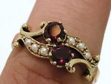 R266- Genuine 9ct SOLID Gold NATURAL Garnet & Pearl Victorian Scroll Ring size Q