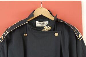 Kleid Marinestil, 80er Jahre Dunkelblau/Gold Gr. 42