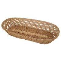 Natural Wicker Oblong Serving Basket 37cm Bread Storage Countertop Display Tray