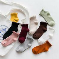 Women Fashion Cute Socks Ankle High Casual Cotton Warm Breathable Solid Socks JP