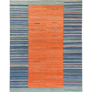 "8'2""x10'2"" Sunburst And Stripes Design Flat Weave Kilim Hand Woven Rug R60047"