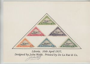 Liberia # C3A-C3F 1936 Air Mails on Card Signed by Designer JOHN WEBB