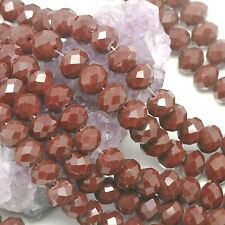 36 pcs 10mm Chinese Crystal Glass Loose Beads Faceted Rondelle Dark Ruby Opaque