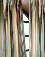 "Blue Satin stripe pure silk taffeta window lined curtains 52""WX84""L each (2 PCS)"