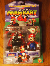 Toy Biz 2000 Mario Kart 64 Mario figure with Motorized cart, mint on mint card