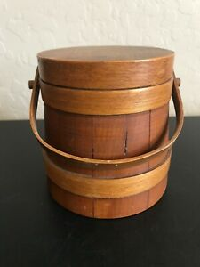 Small Wooden Barrel Container with Lid