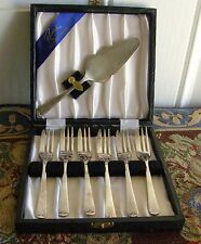 RARE VINTAGE CHEESE CAKE SERVER WITH FORKS BY SHEFFIELD SILVER PLATE IN BOX