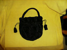 NEW! Black Plush PURSE HANDBAG Lining Pompom Pull Closure