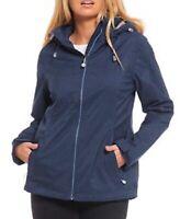 Womens Young Style Hooded Waterproof Jacket Coat Ladies Dark & Light Blue Plus