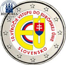 Slowakei 2 Euro Gedenkmünze 2014 bfr. 10 Jahre Beitritt in die EU in Farbe