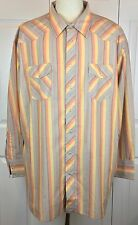 Mens 20X Tall Vintage Wrangler Western Wear Pearl Snap Button Striped Shirt