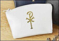 White Zippered Chi Rho Rosary Case NEW SKU 17814