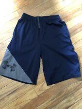 Boys Under Armour Youth Large Loose Navy Shorts EUC