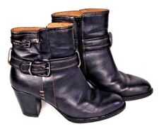 Sofft Womens Size 6 M Black Boots Leather Buckle Side Zip Ankle Bootie