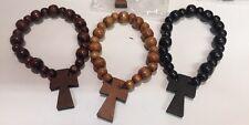 12 Wood Cross Bracelets Beads Elastic Religious Catholic Wholesale