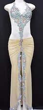 Exotic Dancer Stripper Dancewear Clubwear Pole Dancer Gown w/Rhinestones