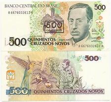 BRAZIL CRUZEIROS 500 ON 500 CRUZADOS NOVOS P-226 ND1990 UNC C-213 50 PCS