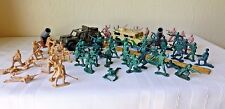 Plastic Toy Army Toys Cannons Jeeps Soldiers Play Pretend Large Set of 58