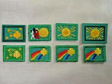 """8 Vintage Girl Scouts Green Cookie Badges 1"""" x 1.5"""""""