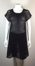 CHAN LU Black Knit Eyelet Short Sleeve Tunic Top Cover Up Size 4/6