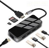 8in1 USB C Hub Adapter Multifunction Type C Adaptor with 3 USB 3.0 Ports 4K NEW