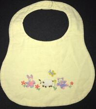 Vintage Child/Baby Hand embroidered Bib Bunny Bear Sheep Pastel Flowers