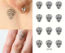 Temporary Tattoo Black Sugar Skulls  TT428 Wrist Ankle Finger Tattoos