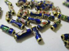 100 Blue Twisted Gold Trimmed Cloisonne Beads 9X3 mm  A+ Quality ~    A409