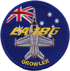 EA-18G Growler + Australian Flag RAAF Embroidered Patch
