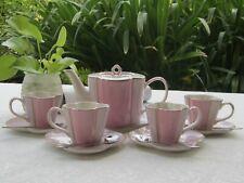 Clover Tea Set with 10 Pieces -Pink -Teapot,4 X Cups,Saucers & Spoons
