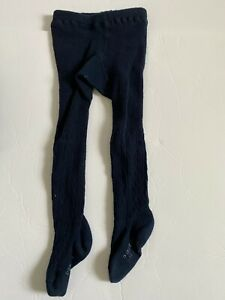 Baby GAP Girls Bear Graphic Cable Navy Tights 12 - 24 Months