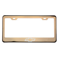 Rose Gold Laser Etched Chevrolet Chevy Logo License Plate Frame Stainless Steel