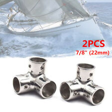 """2PCS Boat Yacht Rail 3 Way Corner for 7/8"""" Tube Stainless Steel Fitting Handrail"""