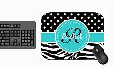 Personalized Mouse Pad Zebra Blue Black Polka Dots PC Computer