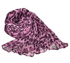 Leopard Animal Print, Purple/Fuschia, Large Scarf Shawl Wrap 1.8m x 1.1m, 1pc