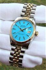 "VINTAGE ROLEX MEN's 36mm DATEJUST 1601 AUTOMATIC WATCH BLUE ""STELLA"" DIAL '66"