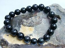 Men's Natural Gemstone Bracelet Black Obsidian 10mm beads 8inch stretchable