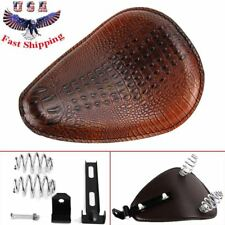 Brown Alligator Motorcycle Leather Solo Driver Seat for Harley Chopper Bobber 48